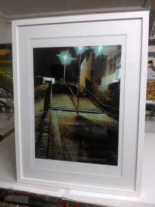 Scary Steps screen print finished & framed - ready to go off to it's new home !